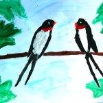 Pictură. Rândunele pe sârmă