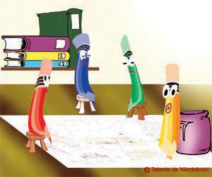 Naz şi creioanele colorate