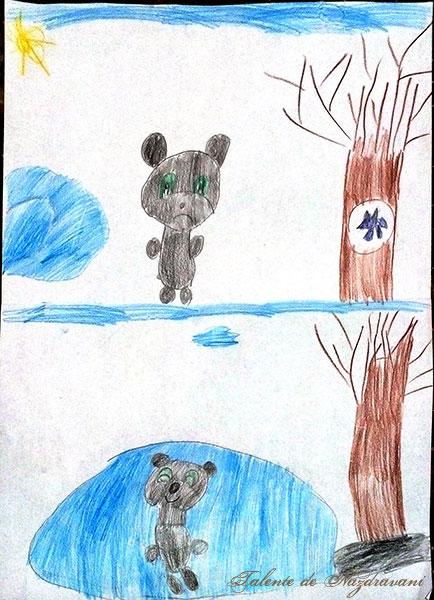Karina P., București, 6 ani: scena preferata - sus, ursul rămas fără coadă se duce să o pedepsească pe vulpea ascunsă in scorbură, pentru că așa merită. Scena care nu mi-a plăcut: când ursul stă cu coada în lac, e fericit că va prinde pește, și nu își dă seama că e păcălit.