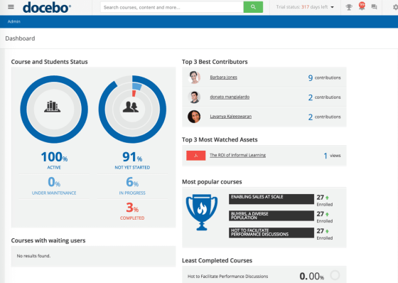 Docebo LMS Review - Product Screen Shot - Personal dashboard - individual learners can track their status and progress