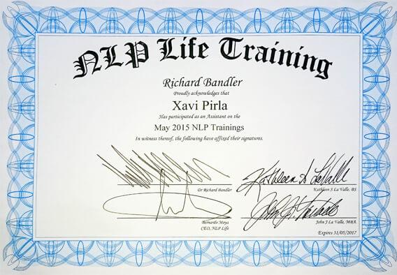 certificado que acredita a Xavier Pirla como formador del equipo de Richard Bandler