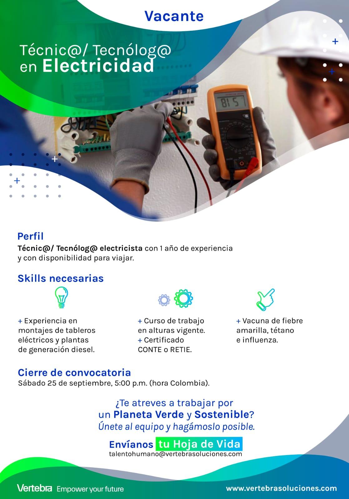 Técnico o Tecnólogo en Electricidad