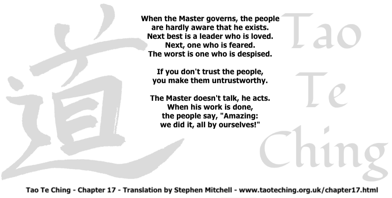 Tao Te Ching - Chapter 17 - Translation by Stephen Mitchell - www.taoteching.org.uk:chapter17.html