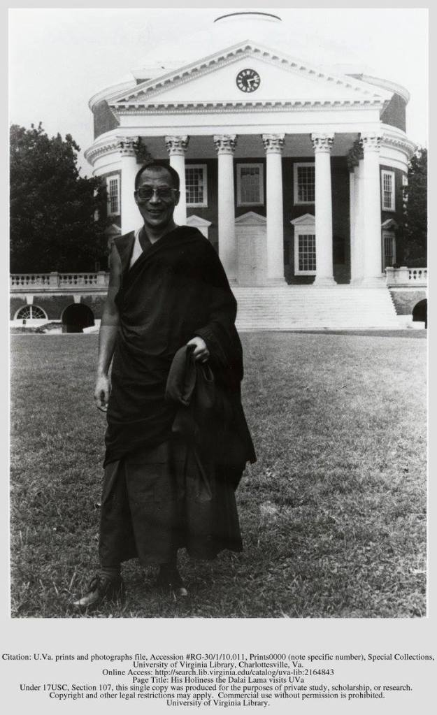 The Dalai Lama as our paths crossed at U.Va.