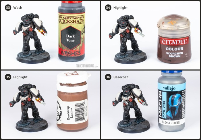 Tutorial: How to paint Black Templars with crisp black armour steps 33 - 36