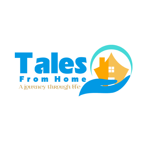 Tales From Home, A Journey Through Life. Website logo in orange and blue with a hand holding a house.