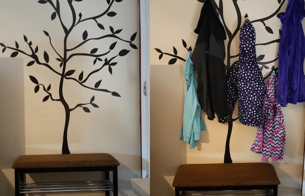 A picture of a DIY coat Rack