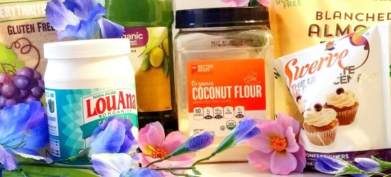 A collection of Keto Pantry Staples. The collection includes Coconut Flour,Coconut Oil, Swerve, Olive oil and almond flour decorated with various blue and purple flowers.
