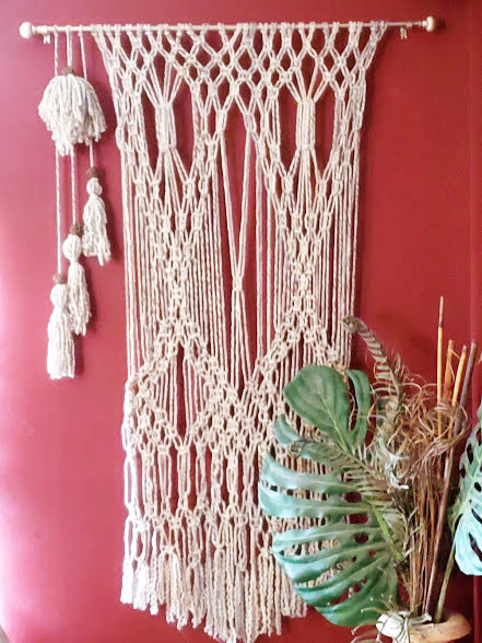 Macrame wall art hung