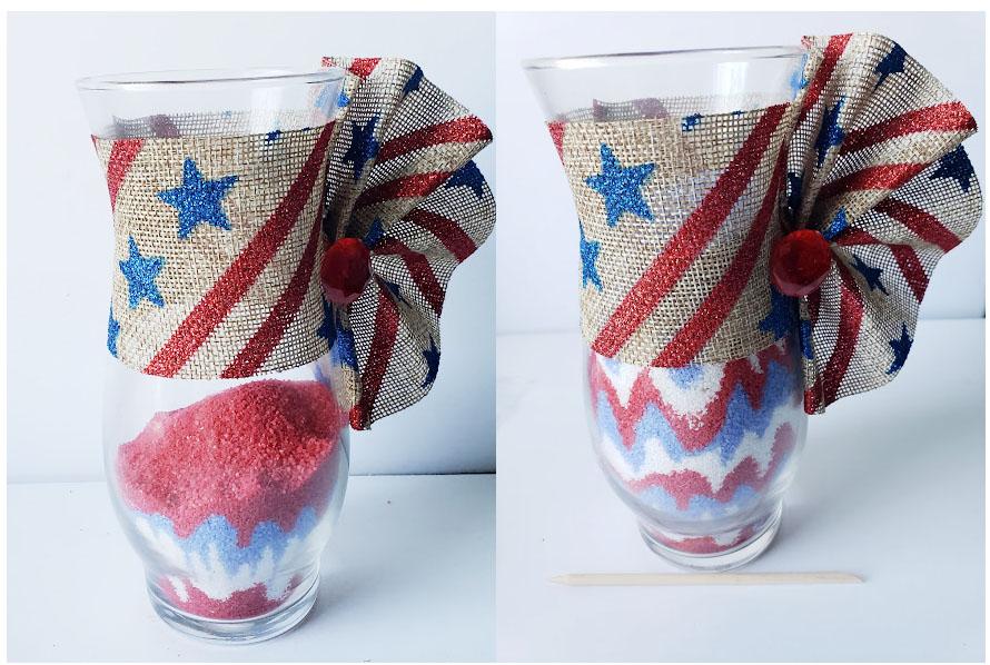 4th of july sand art vase filling