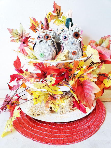 dollar store three tier tray updated for a fall look