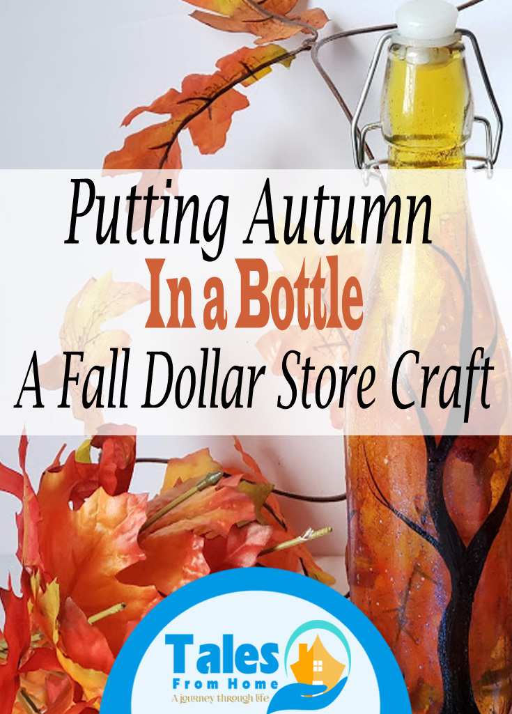 Putting Autumn in a bottle a DIY Fall Dollar Store Craft #DIY #Fall #autumn #Dollarstore #dollartree #dollarstorecraft #simplecraft #bottle #Fallcrafts
