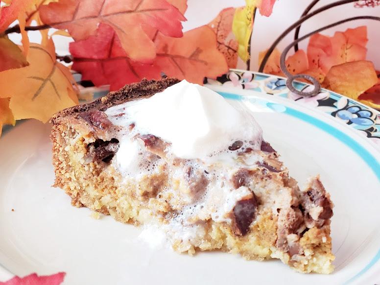 keto pumpkin pecan pie on a plate