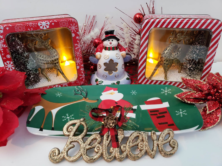 dollar tree christmas decorations reindeer diorama completed