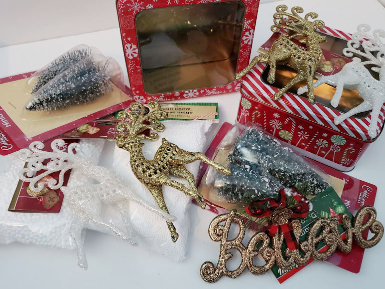dollar tree christmas decorations supplies for a reindeer diorama