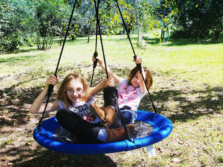 getting your kids outsideand having fun together on a tree swing