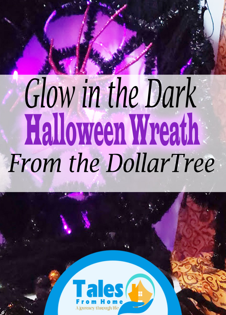Glow in the Dark Halloween Wreath made from the DollarTree ! #crafts #Halloween #Halloweendecor #HalloweenDecorations #Crafting #Dollarstore #dollartree