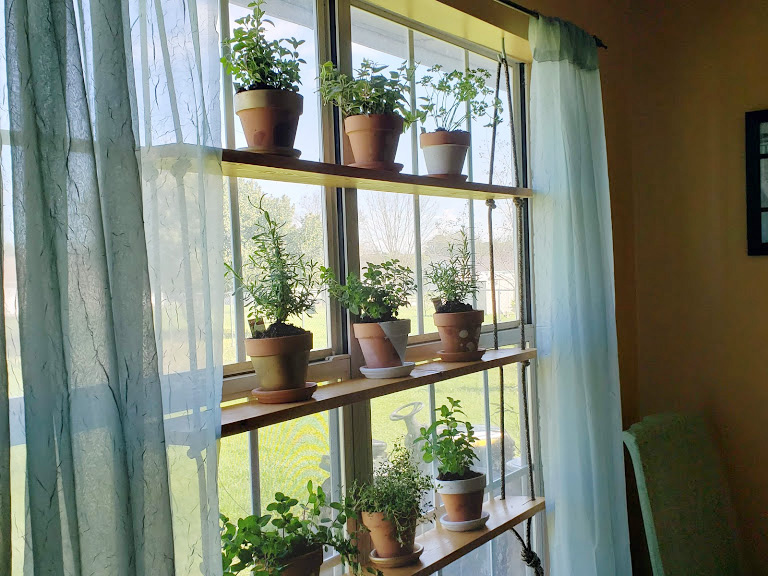 hanging herb garden completed project