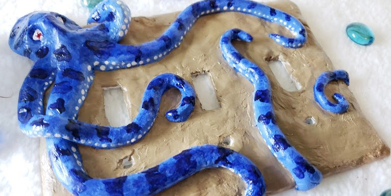 Tips for Sculpting with Ar Dry Clay, Octopus lightswitch