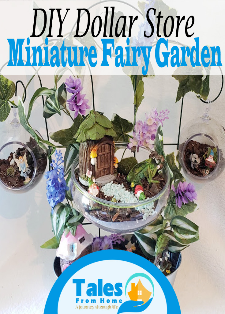 Dollar Store Fairy Garden Project. A DIY bit of summer decor fun! #summer #DIY #fairygarden #succulents #gardening #crafts #Dollarstore #dollartree #simplecrafts