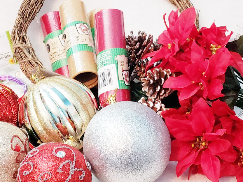 Supplies for a DIY christmas wreath from the Dollar Tree