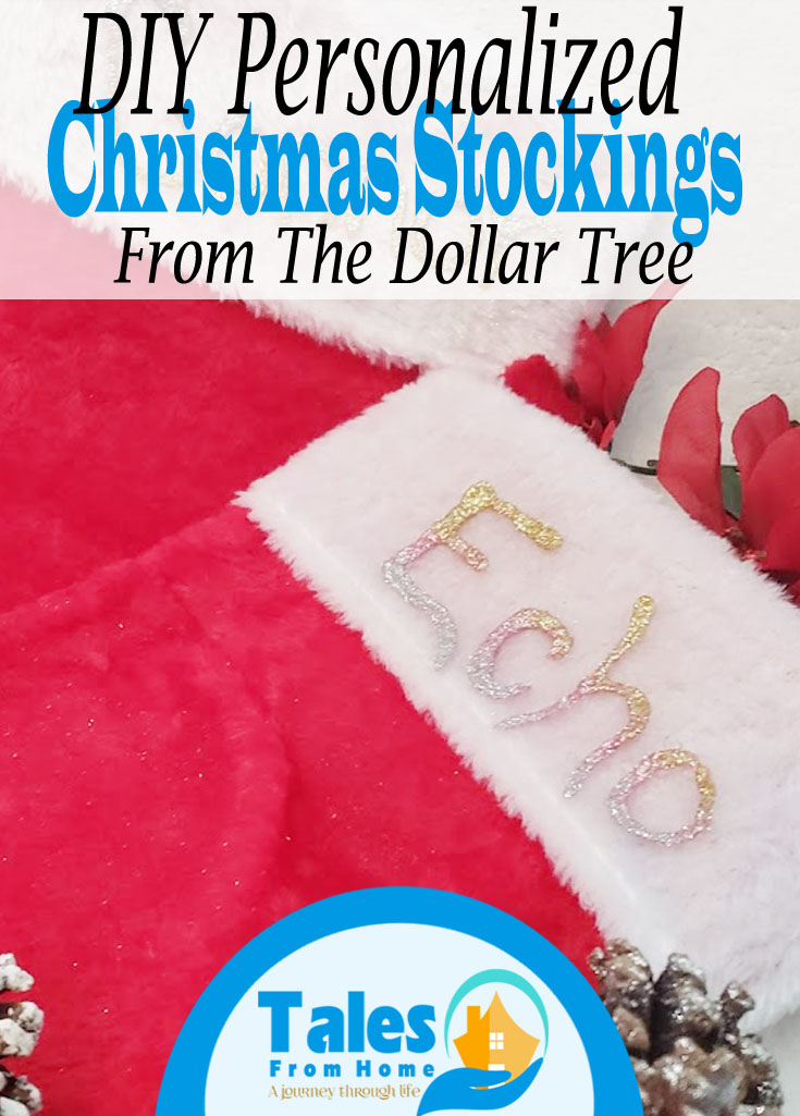DIY Personalized Christmas Stockings from the Dollar tree #DIY #christmas @Christmasdecor #DIYchristmas #Dollarstore #dollartree