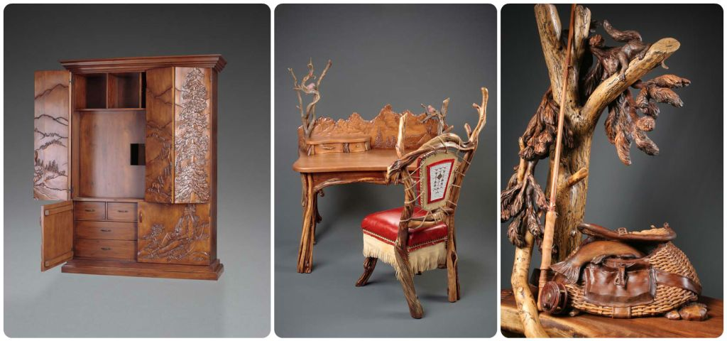 Custom hand carved furniture by Al Hone