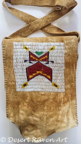artsy fartsy tuesday,beadwork bag, brain tan leather