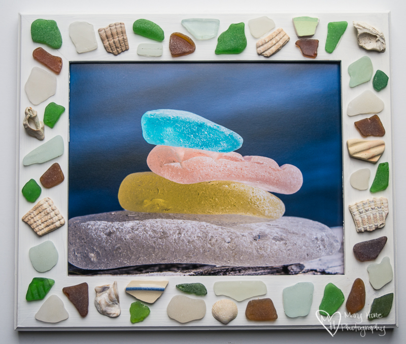 Sea glass photo frame