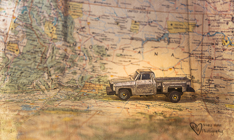 vintage map and vintage truck