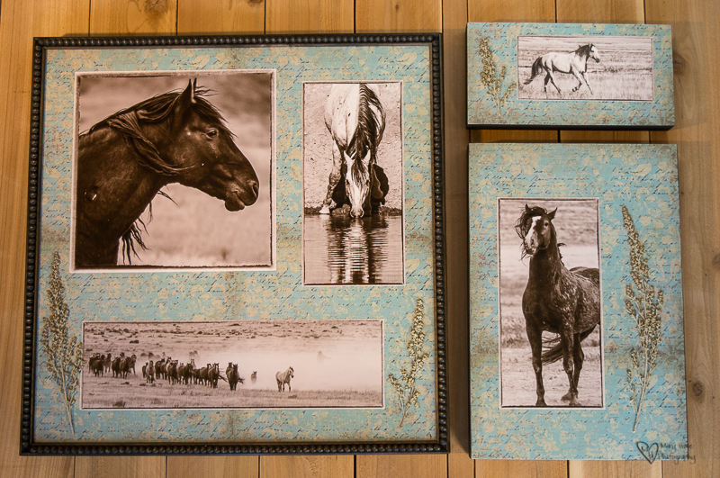 Mixed Media Photography collage of wild horses