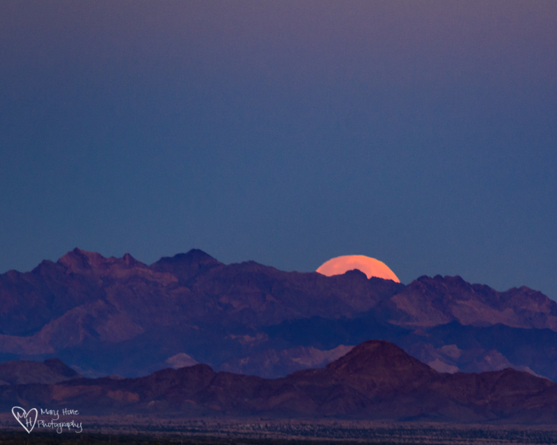 Good Night Moon, full moon setting in the desert