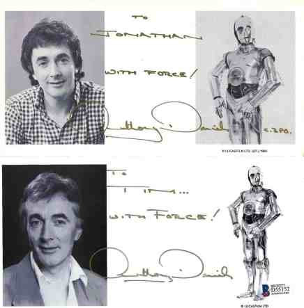 Signed photo by Star Wars actor Anthony Daniels