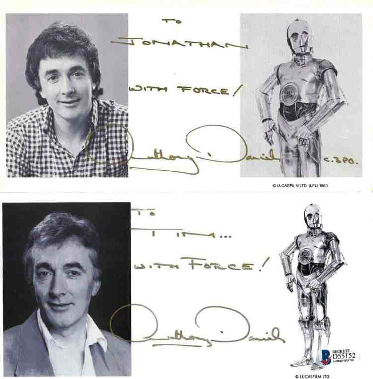 Authentic autographs from Anthony Daniels (C-3PO) signed in gold. Obtained through the mail (TTM) from the Official Star Wars Fan Club.