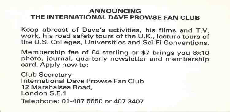 Advertisement for the David Prowse Fan Club