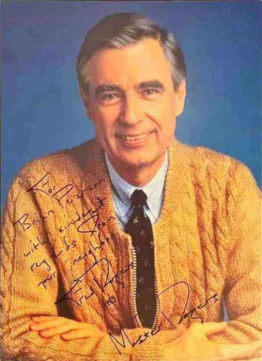 Mr. Rogers was one of the kindest celebrities to his fans. This signed photo was sent from Mr. Rogers in response to a fan letter. (Supplied: Brian Pearson)