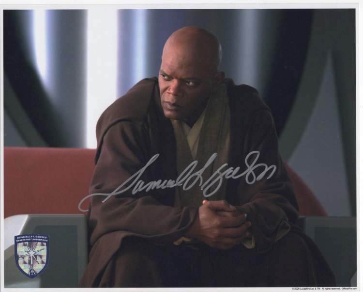 Signed photo by Star Wars actor Samuel L Jackson