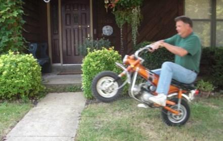 Kevin doing a wheelie