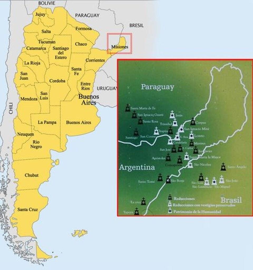 Map Jesuits missions Paraguay Argentina 1