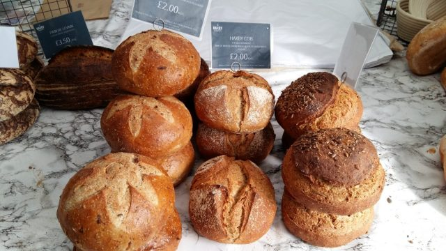 Freshly baked bread food stall at the York Food Festival