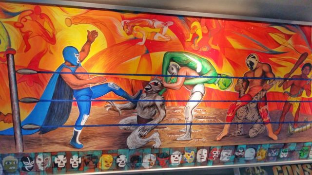 Mural Showing Lucha Libre Mexico City
