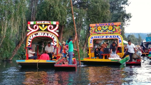 The Colouful Trajinera Boats at Xochimilco