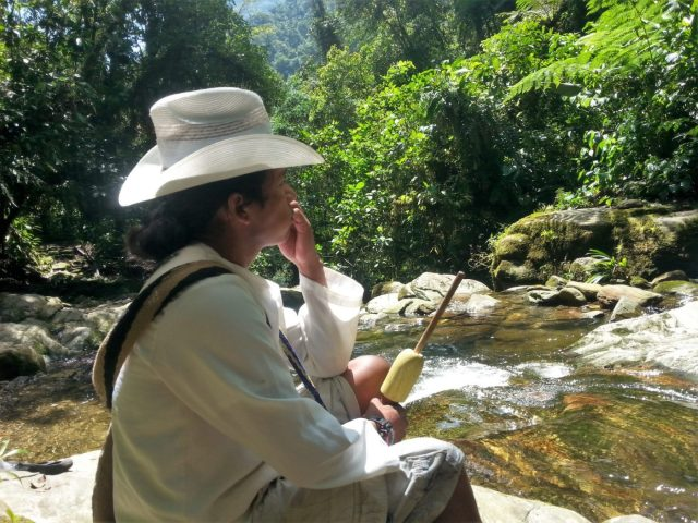 Our Wiwa Guide, Jose Luis, taking a break in La Ciudad Perdida
