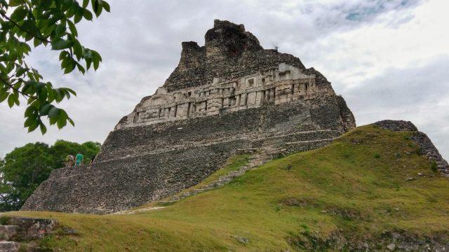 Carvings on one of the pyaramids at Xunantunich Maya ruins near San Ignacio Belize