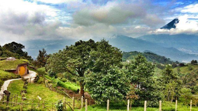 Agua Volcano dominates the view from Hobbitenango Antigua Guatemala