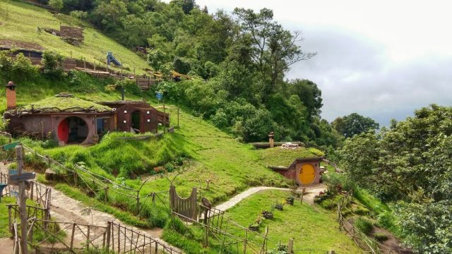 Hobbitenango's two current Hobbit Holes in the mountainside
