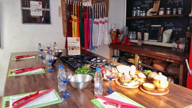 Our cooking class all ready to go at La Tortilla Cooking School Antigua - Cooking Guatemalan food