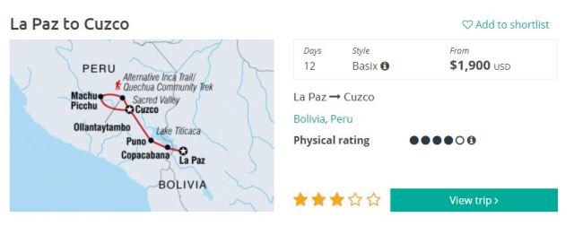 Intrepid La Paz to Cusco & Machu Picchu