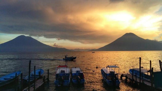 Sunset over Lake Atitlan Guatemala & two volcanoes