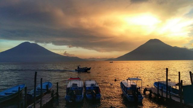 Sunset over Lake Atitlan Guatemala & two volcanoes
